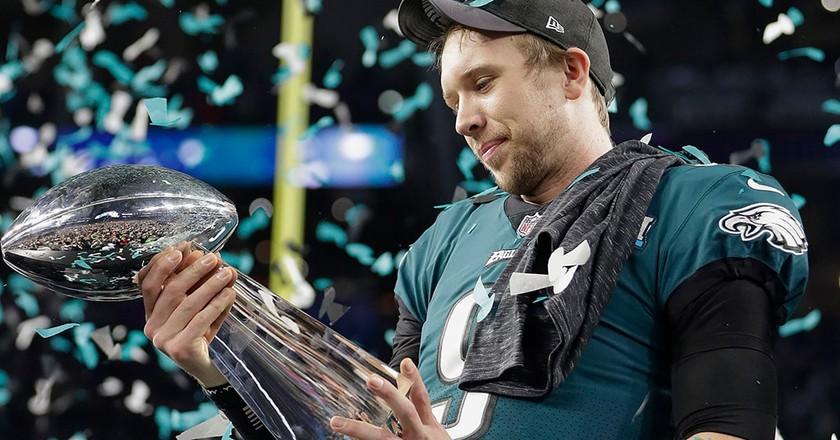 Philadelphia Eagles QB Nick Foles was named Super Bowl LII MVP   © Mark Humphrey/AP/REX/Shutterstock