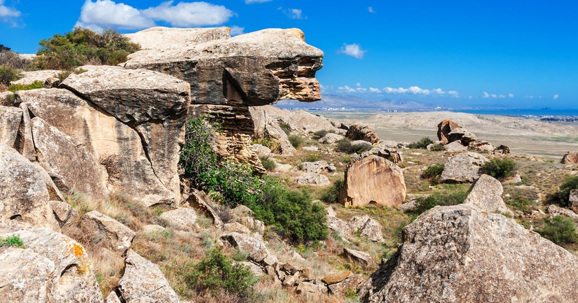 Rocks and view Gobustan National Park   © kerenby/Shutterstock