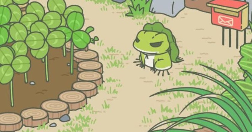 Tabikaeru in his garden | Screenshot taken from WeChat's traveling frog game