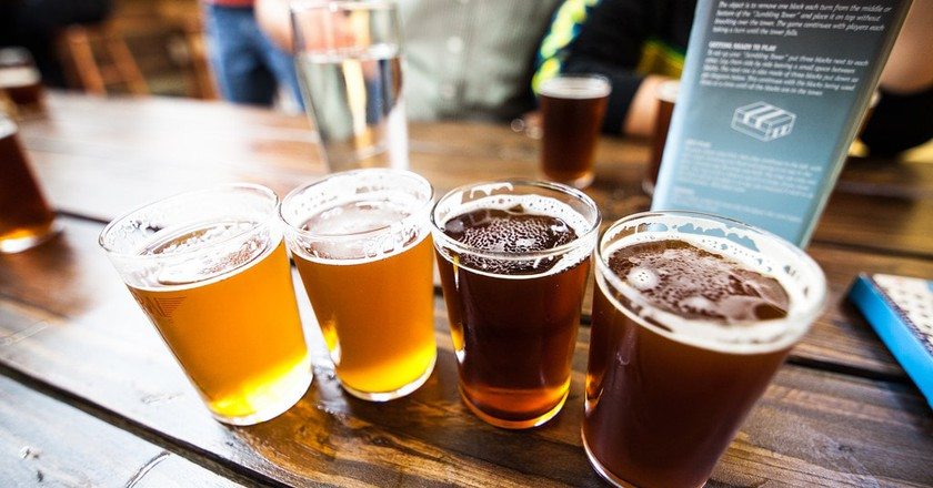Beer flight at a brewery