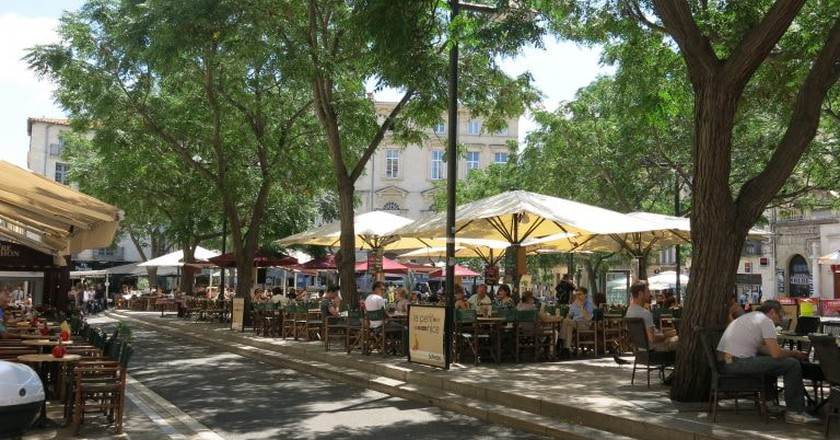 Bustling Place Jean Jaures in Montpellier
