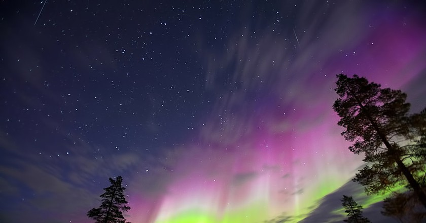 Northern lights in the night sky