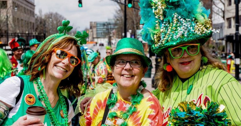 Women enjoying St. Patrick's Day in Atlanta