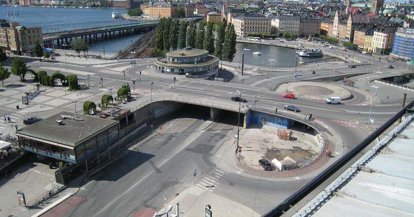 Slussen is famous for its clover style interchange
