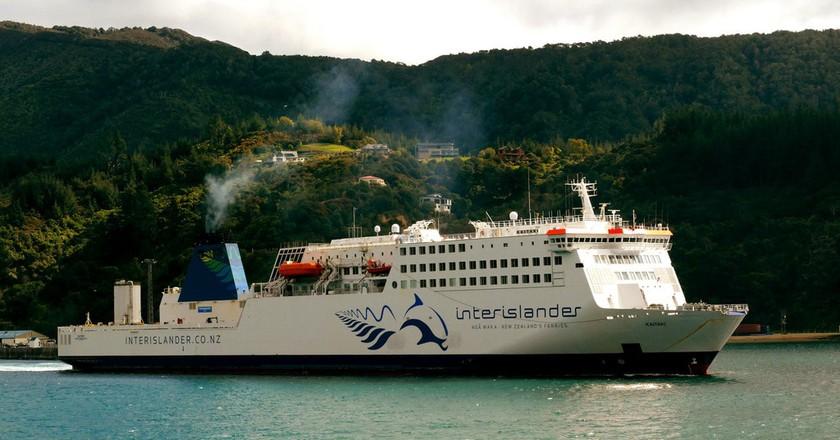 Interislander Ferry with the legendary Pelorus Jack in its logo.