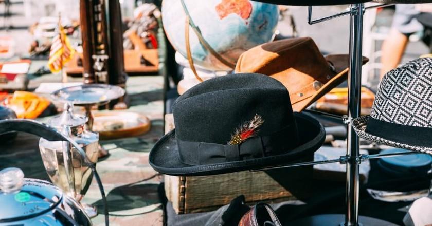 Hats at the Rose Bowl Flea Market in Pasadena