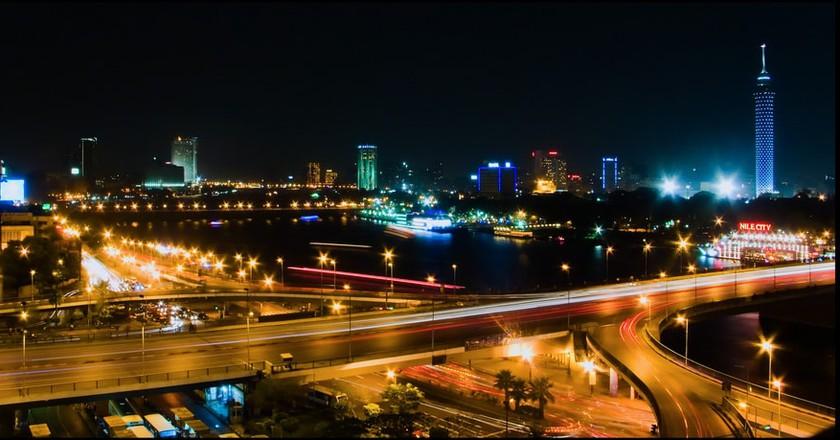 Cairo's October Bridge view at night