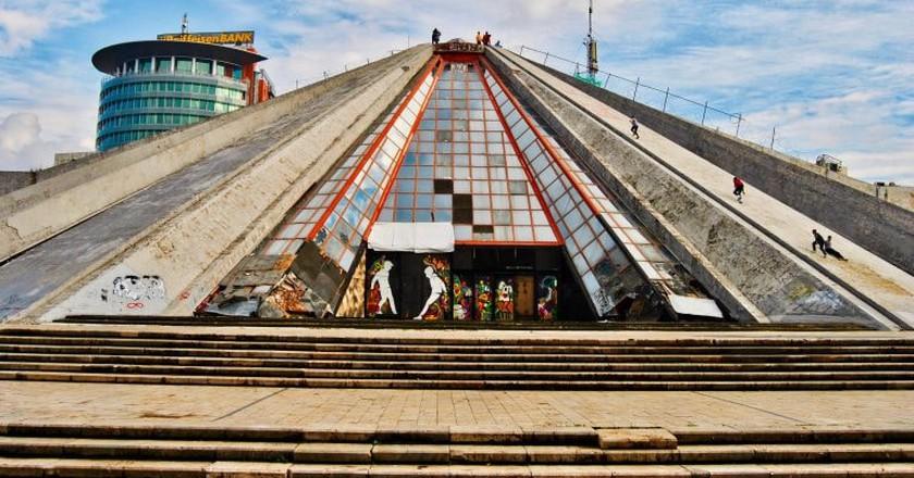 The pyramid of Tirana, one of the symbols of the Albanian capital city