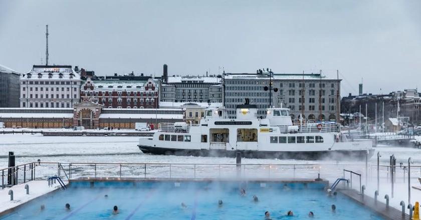 Winter swimming pool in Helsinki harbour
