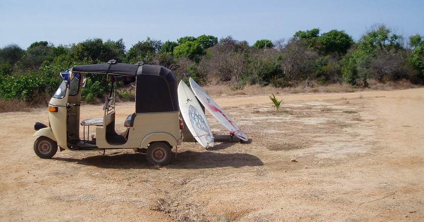Classic tuktuk and boards scene at Elephant Point
