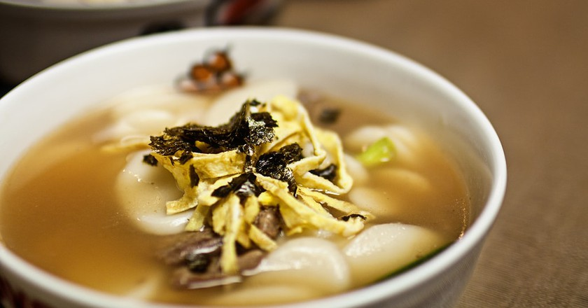 Tteokguk, or rice cake soup, plays an important role in Korea's traditions.