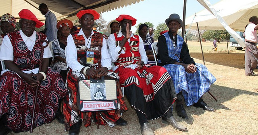 Men from the Lozi tribe, which celebrates the Kuomboka traditional festival.