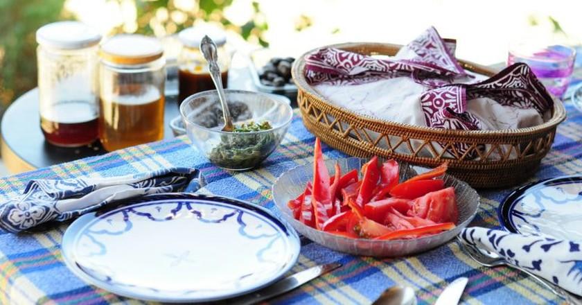 A simple Turkish breakfast spread in the summer sun