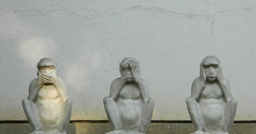 Gandhi's Three Monkeys at a museum in Ahmedabad