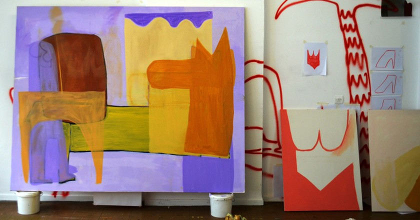 Work by Aristeidis Lappas, in his studio