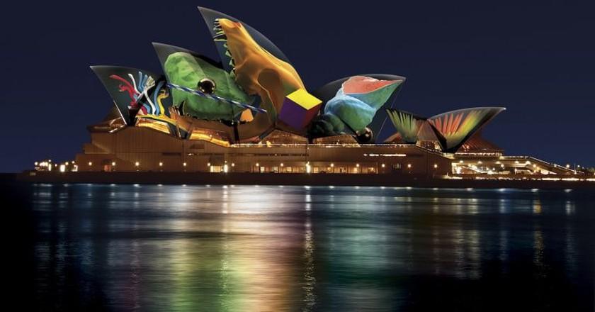 Artist's impression of 'Skull' by Jonathan Zawada at the Sydney Opera House