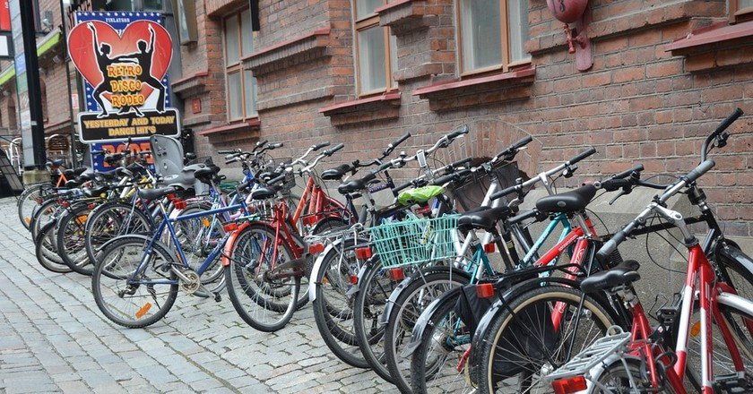 Lines of bikes are a common sight in Finnish cities