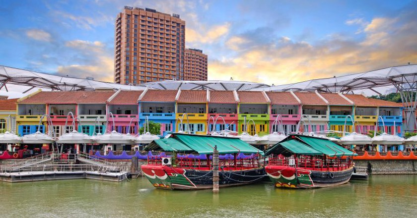 Restaurants in Clarke Quay, Singapore.