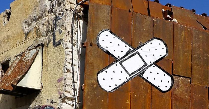 Band-Aid graffiti on Allenby