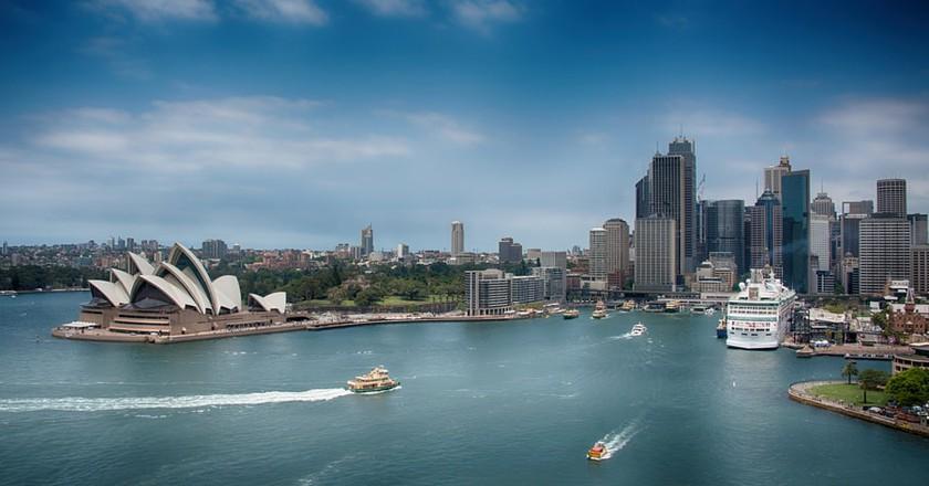 The iconic Sydney Harbour Bridge provides a stunning backdrop