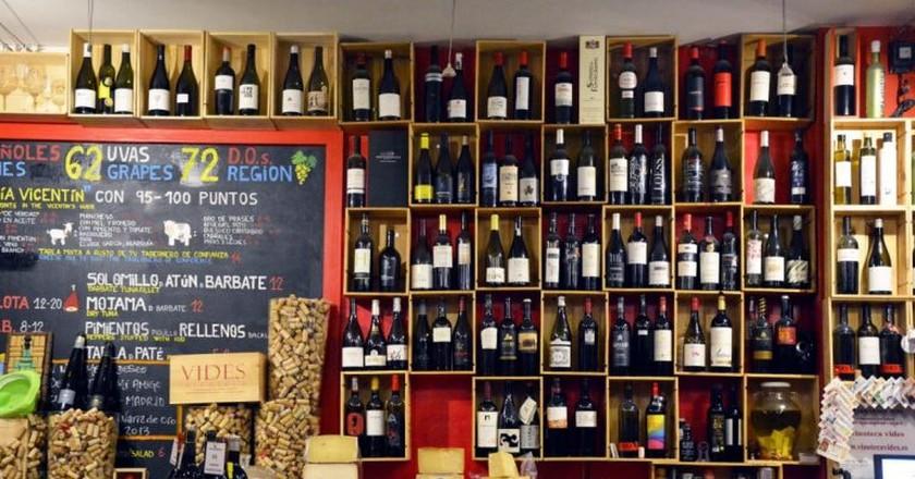 Wines on display at Vinoteca Vides