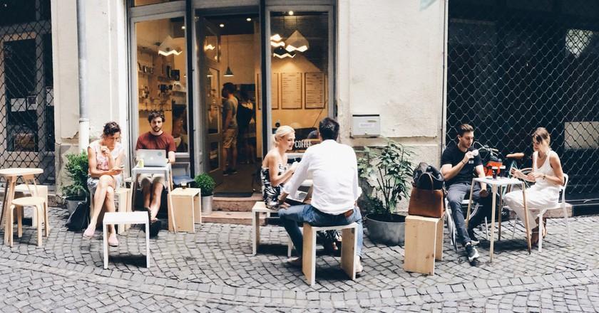 A quiet walking street outside Kontakt, Budapest   Courtesy of Kontakt Speciality Coffee