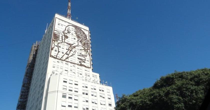 Eva Peron on the 9 de Julio Avenue in Buenos Aires