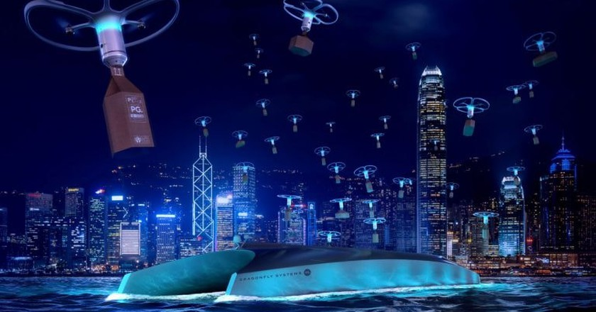 An artist's rendering of the Dragonfly concept