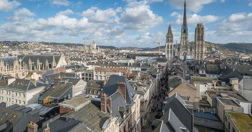 The Notre-Dame Cathedral of Rouen dominating the city's skyline
