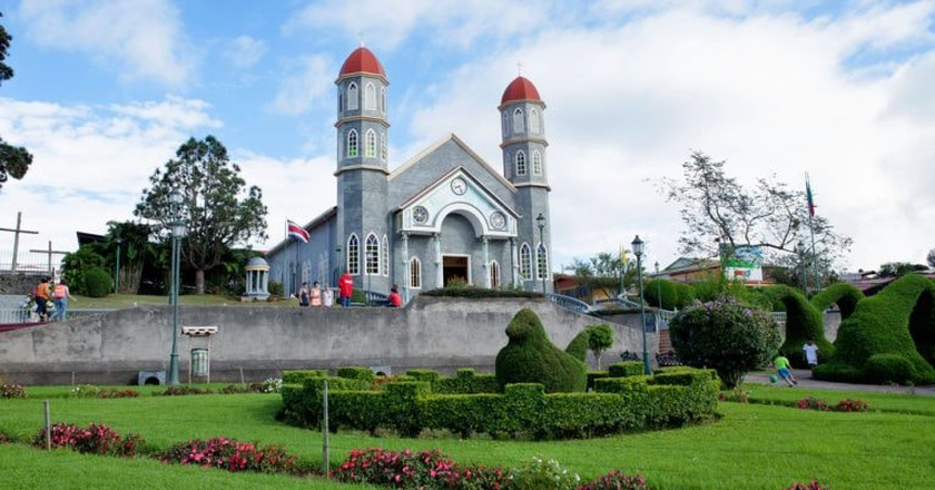 The blue and pink church