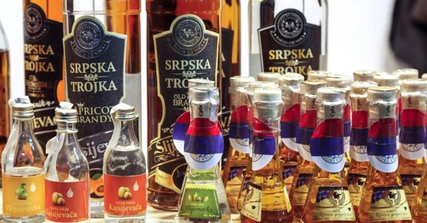 Various bottles of rakija, Serbia