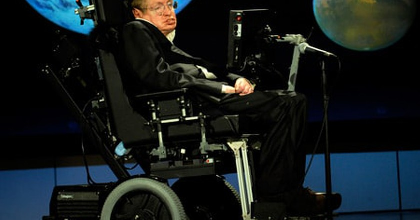 "Hawking delivering a speech entitled ""Why we should go into space"" at George Washington University © NASA/Paul. E. Alers"