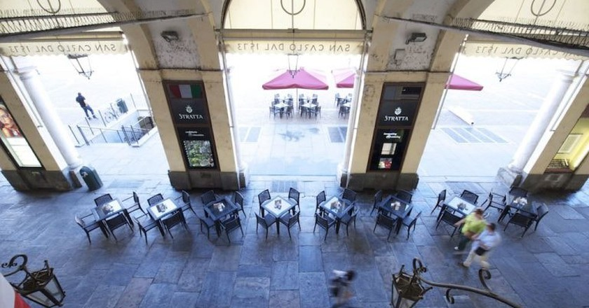 Turin's historic chocolatier Stratta under the porticoes of Piazza San Carlo | Courtesy Stratta1836