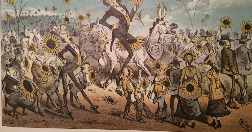 Keller cartoon from the Wasp of San Francisco depicting Wilde on the occasion of his visit there in 1882