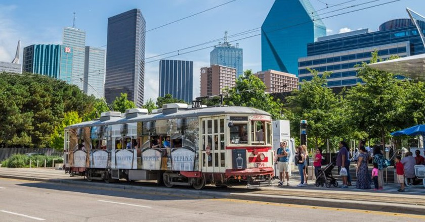 The M-Line Trolley offers free rides between Uptown and downtown Dallas