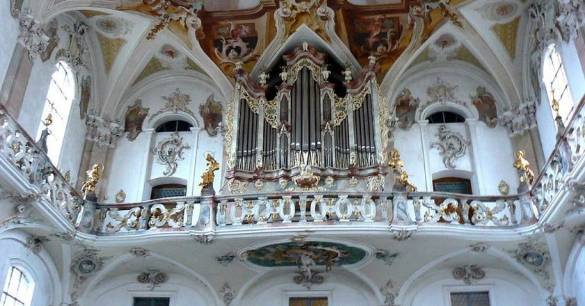 The gorgeous pipe organ at the Wallfahrtskirche Birnau