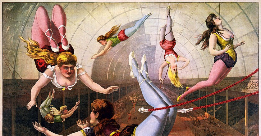 Trapeze artists in Circus, lithograph by Calvert Litho. Co., 1890