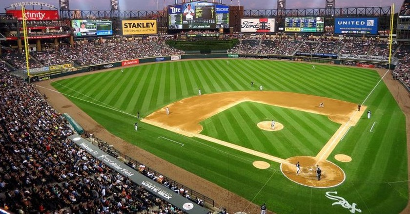 Chicago's White Sox play at dusk at Guaranteed Rate Field.