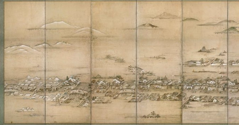 Folding screen detail of Hiroshima Castle Town, c. 1805 [artist unknown] | Hiroshima City Library / Public Domain