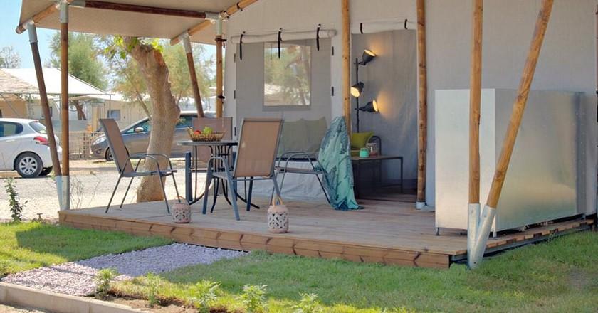 Safari tent at Armenistis Camping, in Halkidiki, Greece
