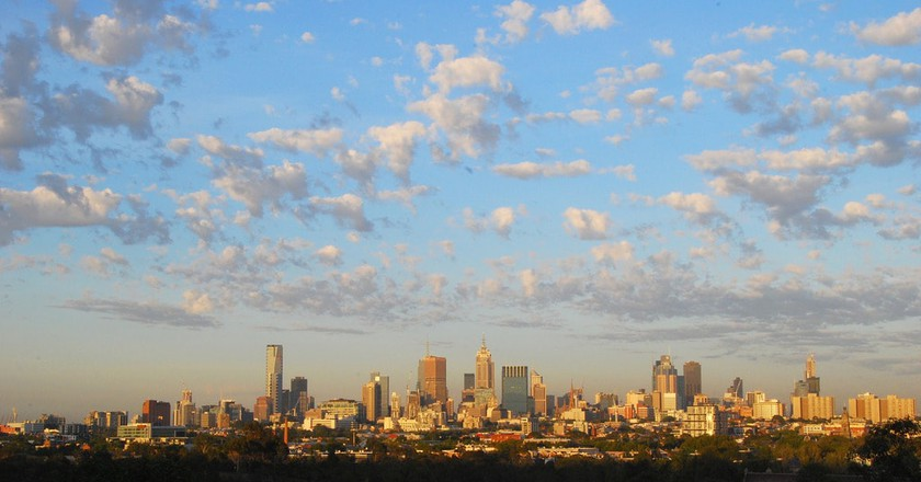 Melbourne skyline view from Kew