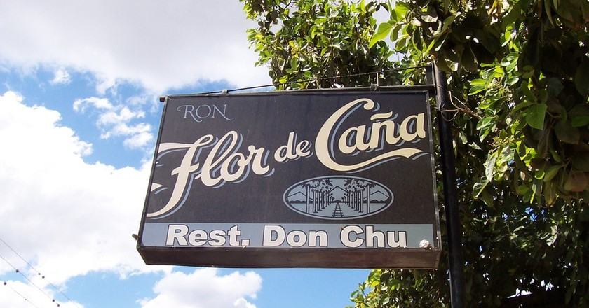 A sign bears the name of Nicaragua's famous rum, Flor de Cana