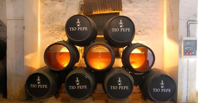 Viewing barrels in the Gonzalez Byass bodega in Jerez; Clay Newton/flickr