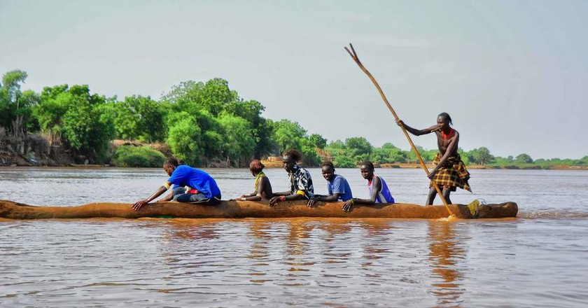 Crossing the Omo River in Southern Ethiopia