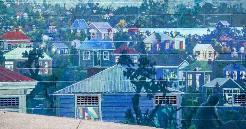 Ponsonby mural, view from Grosvenor Street overlooking Grey Lynn