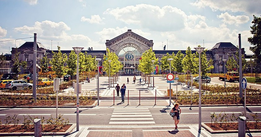 Charleroi-South railway station, the main train station serving Charleroi.