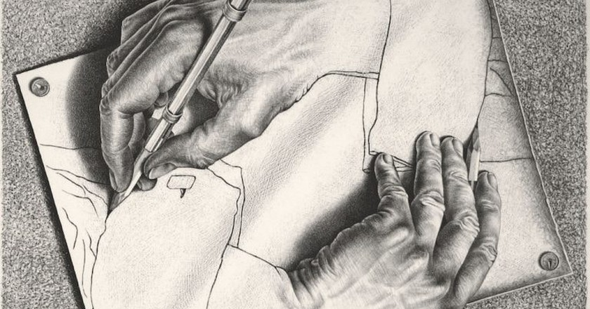 M. C. Escher, 'Drawing Hands' | @ 2018 The M.C. Escher Company.