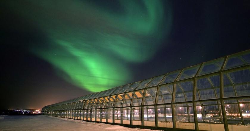 Northern Lights over the Arkitikum Museum.