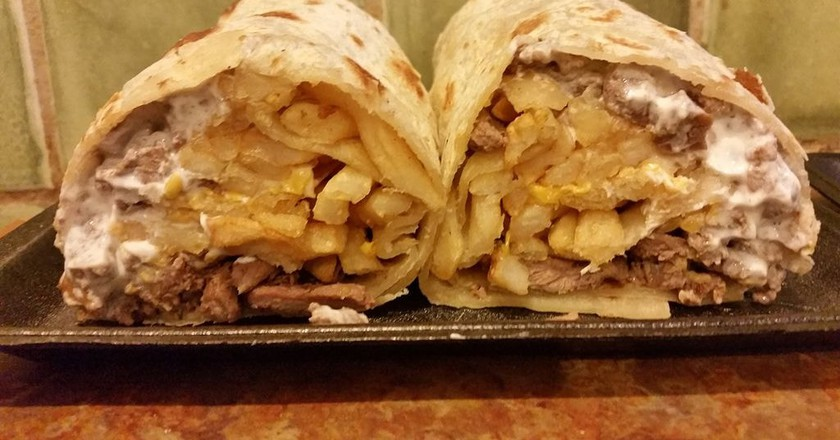 The California burrito is stuffed with french fries and carne asada