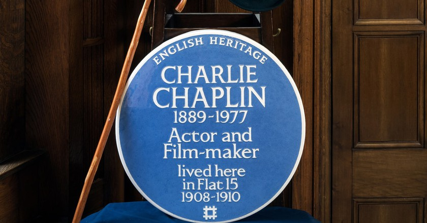 The plaque for Chaplin's home, 15 Glenshaw Mansions in Brixton